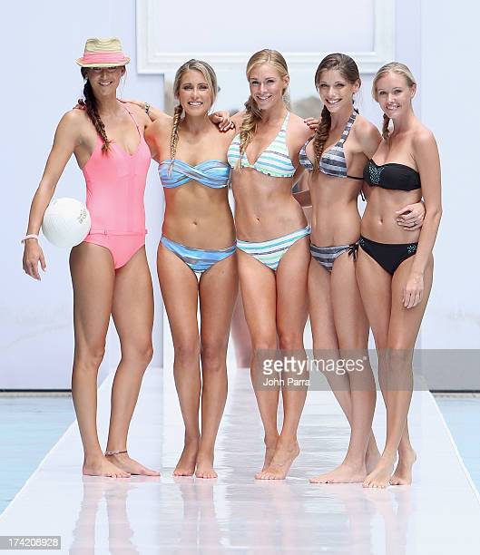 A model poses on the runway at the Oakley show during MercedesBenz Fashion Week Swim 2014 at the SLS Hotel on July 21 2013 in Miami Florida