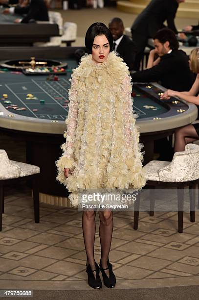 A model poses on the runway during the Chanel show as part of Paris Fashion Week Haute Couture Fall/Winter 2015/2016 on July 7 2015 in Paris France