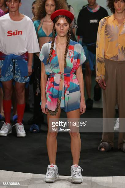 A model poses on the runway during the Double Rainbouu show at MercedesBenz Fashion Week Resort 18 Collections at Carriageworks on May 15 2017 in...