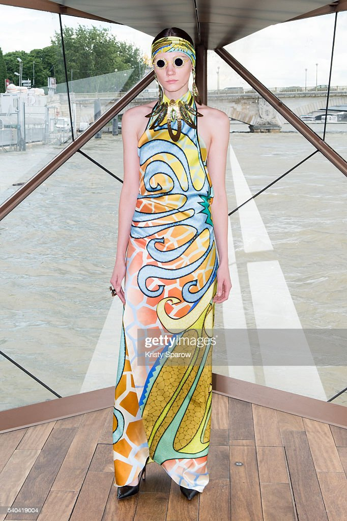 A model poses on the runway during the 'J Summer Fashion Show 2016' Jessica Minh Anh Transforms A Bateau Mouche into a 'La Seine' Outdoor Catwalk on...