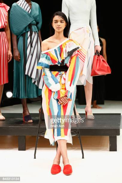 A model poses on the runway for Tome fashion show presentation during New York Fashion Week The Shows on September 10 2017 in New York City