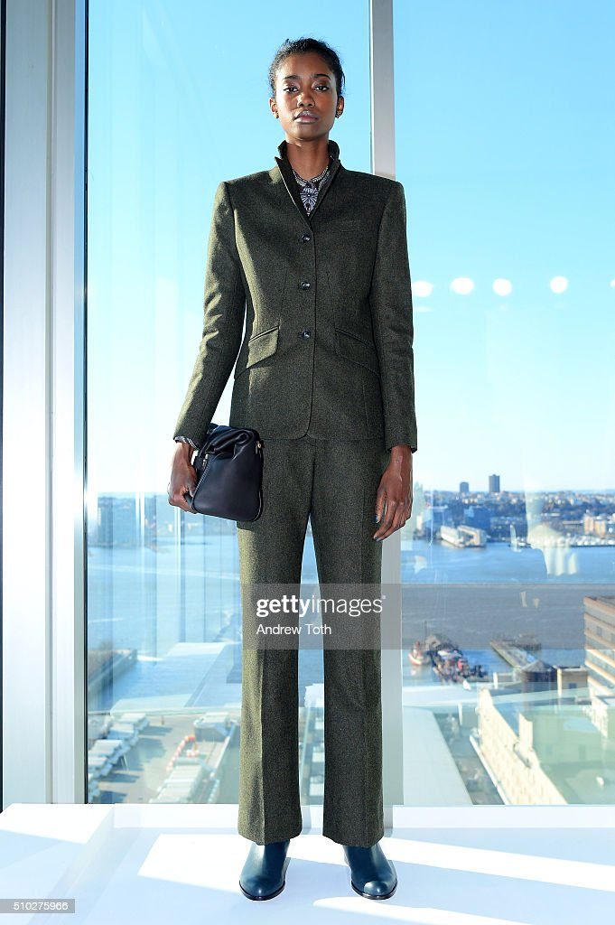 A model poses onstage at Brooks Brothers F/W 2016 Presentation With Zac Posen on February 14, 2016 in New York City.
