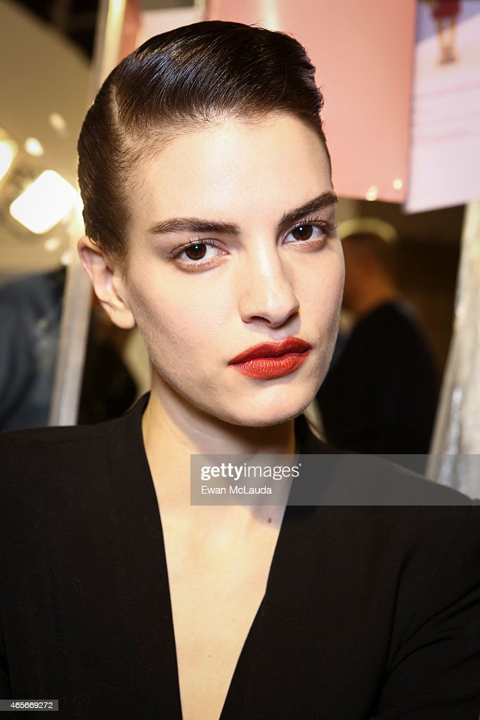 Model poses prior the Acne Studio show as part of the Paris Fashion Week Womenswear Fall/Winter 2015/2016 on March 7 2015 in Paris France