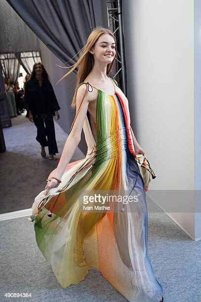 A model poses prior the Chloe show as part of the Paris Fashion Week Womenswear Spring/Summer2016 on October 1 2015 in Paris France