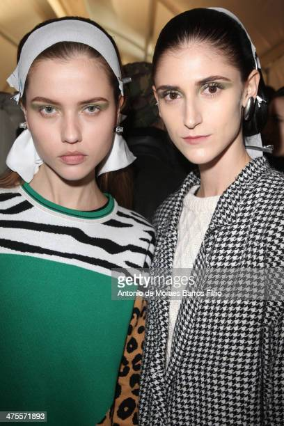 Model poses prior the Christian Dior show as part of the Paris Fashion Week Womenswear Fall/Winter 20142015 on February 28 2014 in Paris France