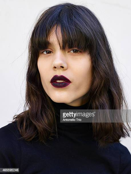 A model poses prior the Emanuel Ungaro show as part of the Paris Fashion Week Womenswear Fall/Winter 2015/2016 on March 8 2015 in Paris France