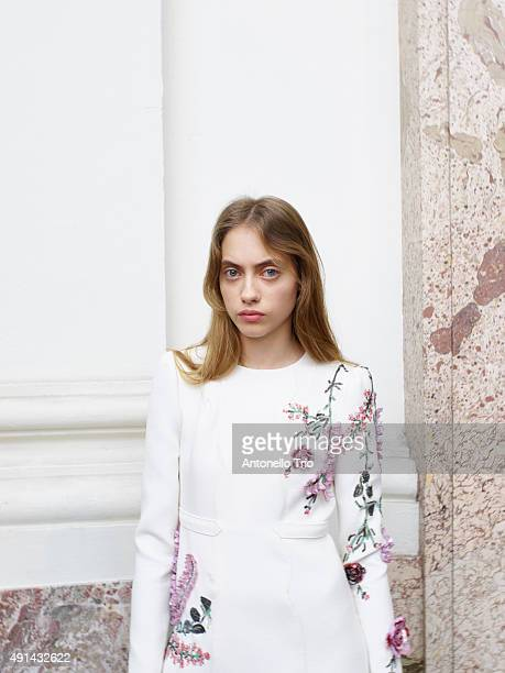 A model poses prior the Giambattista Valli show as part of the Paris Fashion Week Womenswear Spring/Summer2016 on October 5 2015 in Paris France