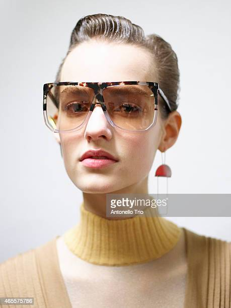 Model poses prior the Loewe show as part of the Paris Fashion Week Womenswear Fall/Winter 2015/2016 on March 6 2015 in Paris France
