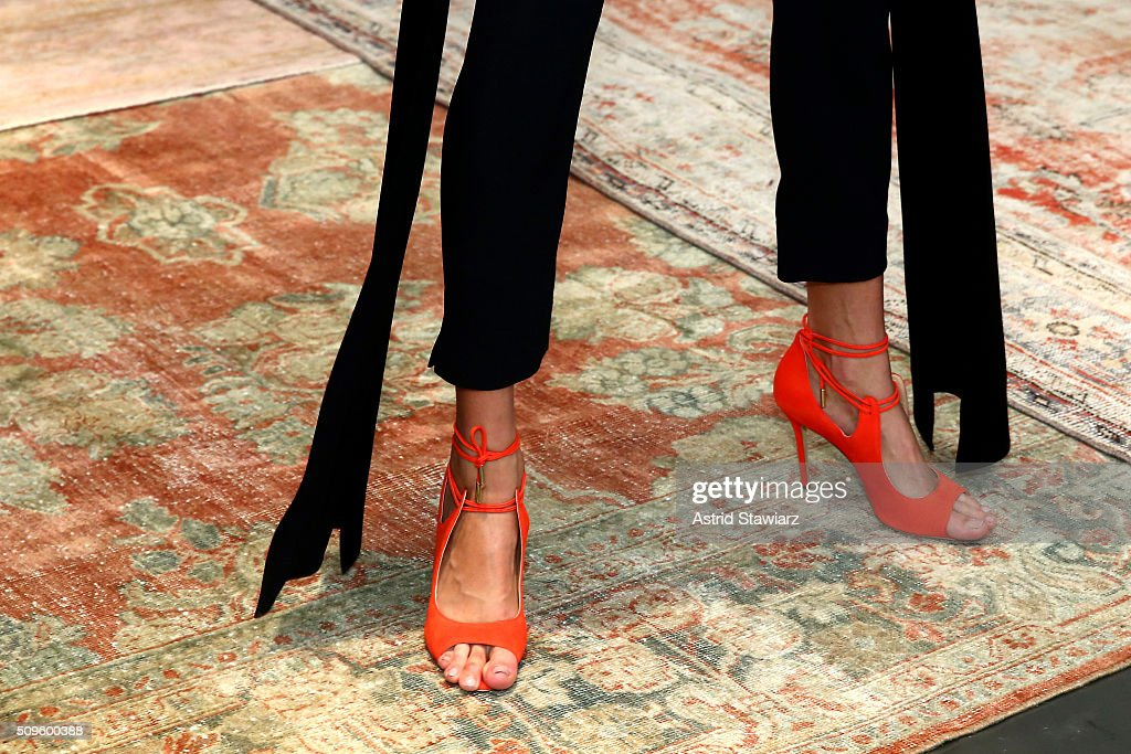 A model poses, shoe detail, wearing Hellessy Fall/Winter 2016 at Affirmation Arts on February 11, 2016 in New York City.