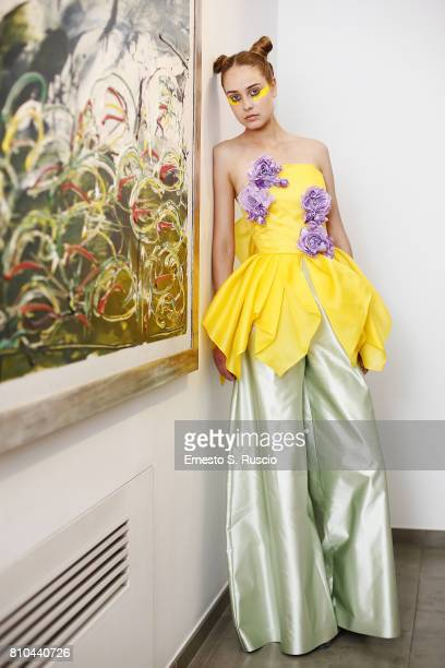 A model poses the runway at the Filippo Laterza Show during Altaroma on July 7 2017 in Rome Italy