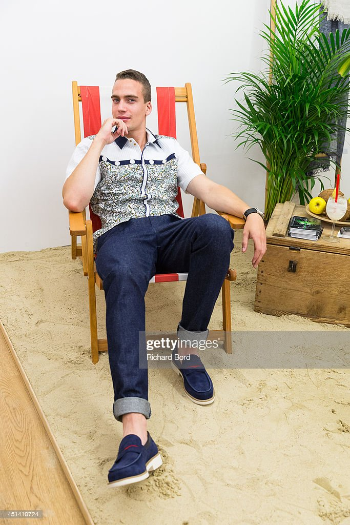 A model poses wearing a Laurenceairline shirt during the Corner23 presentation as part of the Paris Fashion Week Menswear Spring/Summer 2015 on June 28, 2014 in Paris, France.