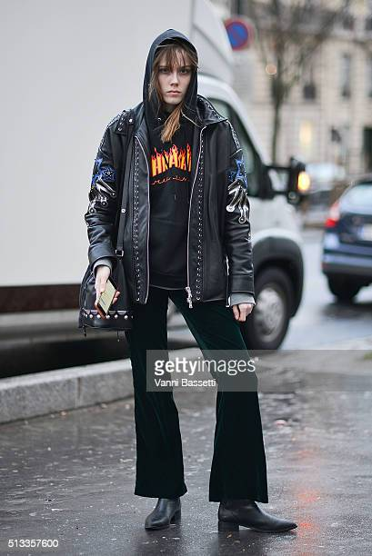 A model poses wearing a Thrasher sweatshirt before the Rochas show at the Palais de Tokyo during Paris Fashion Week FW 16/17 on March 2 2016 in Paris...