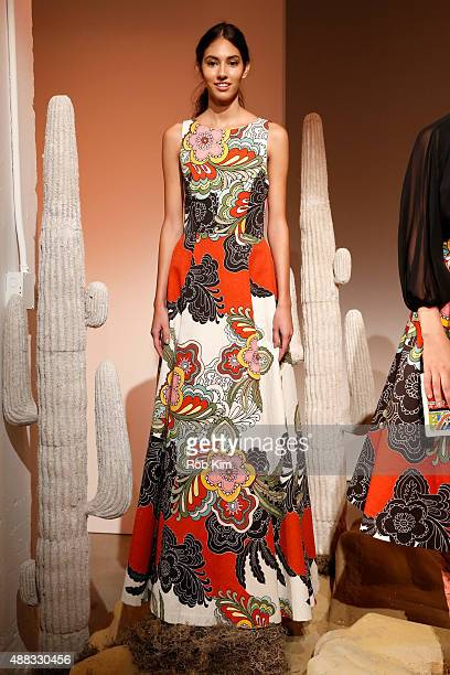A model poses wearing Alice Olivia By Stacey Bendet Spring 2016 during New York Fashion Week The Shows at The Gallery Skylight at Clarkson Sq on...