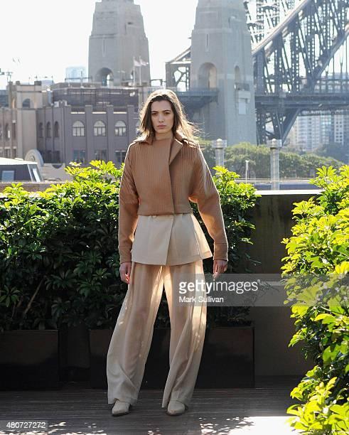 Model poses wearing Bianca Spender design during the International Woolmark Prize Australia regional final on July 15 2015 in Sydney Australia