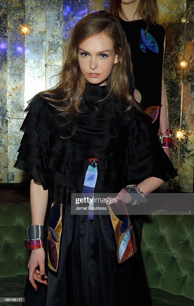 A model poses wearing Cynthia Rowley Fall 2014 at the Cynthia Rowley Fall 2014 Presentation during Mercedes-Benz Fashion Week Fall 2014 at The Diamond Horseshoe on February 12, 2014 in New York City.