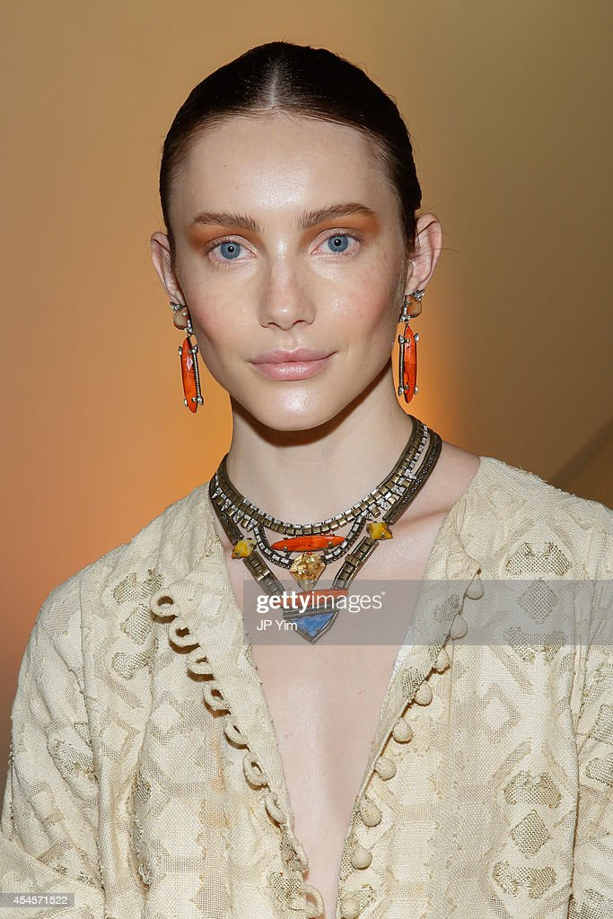 A model poses wearing Dannijo jewelry at the Dannijo Presentation during MercedesBenz Fashion Week Spring 2015 at The Hosfelt Gallery on September 3...