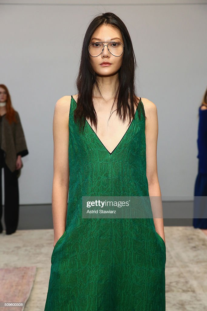 A model poses wearing Hellessy Fall/Winter 2016 at Affirmation Arts on February 11, 2016 in New York City.