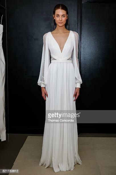 A model poses wearing J Mendel Bridal Spring/Summer 2017 during the Presentation at J Mendel Showroom on April 14 2016 in New York City