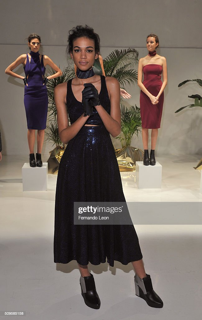 A model poses wearing Jay Godfrey Fall 2016 during New York Fashion Week: The Shows at The Space, Skylight at Clarkson Square on February 11, 2016 in New York City.