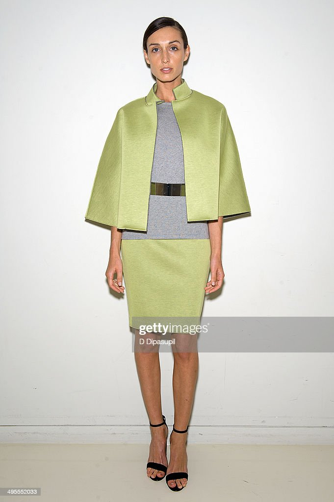 A model poses wearing Josie Natori Resort 2015 Ready to Wear at the Natori Showroom on June 4, 2014 in New York City.
