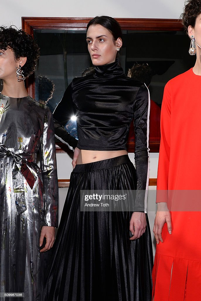 A model poses wearing Kaelen Fall 2016 during New York Fashion Week: The Shows at Pier 59 on February 13, 2016 in New York City.