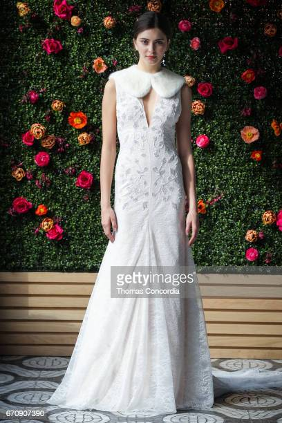 A model poses wearing Lela Rose Spring 2018 Bridal Collection at La Sirena on April 20 2017 in New York City