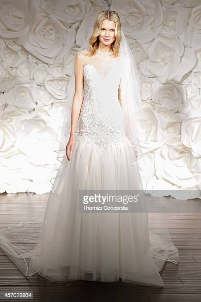 A model poses wearing Naeem Khan Fall 2015 Bridal Collection on October 10 2014 in New York City