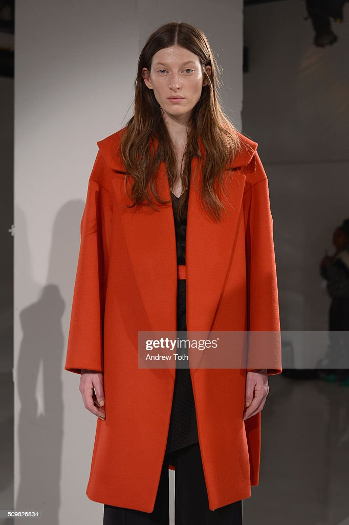 A model poses wearing O'2nd Fall 2016 during New York Fashion Week: The Shows at The Space, Skylight at Clarkson Sq on February 12, 2016 in New York City.