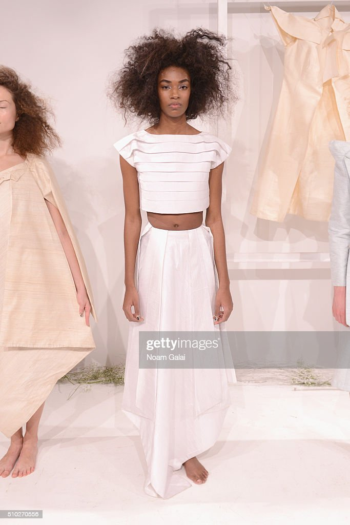 A model poses wearing Runa Ray Fall 2016 during New York Fashion Week: The Shows at The Space, Skylight at Clarkson Sq on February 14, 2016 in New York City.