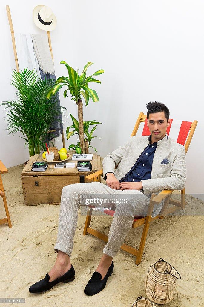 A model poses wearing some Laurenz Bach clothes during the Corner23 presentation as part of the Paris Fashion Week Menswear Spring/Summer 2015 on June 28, 2014 in Paris, France.