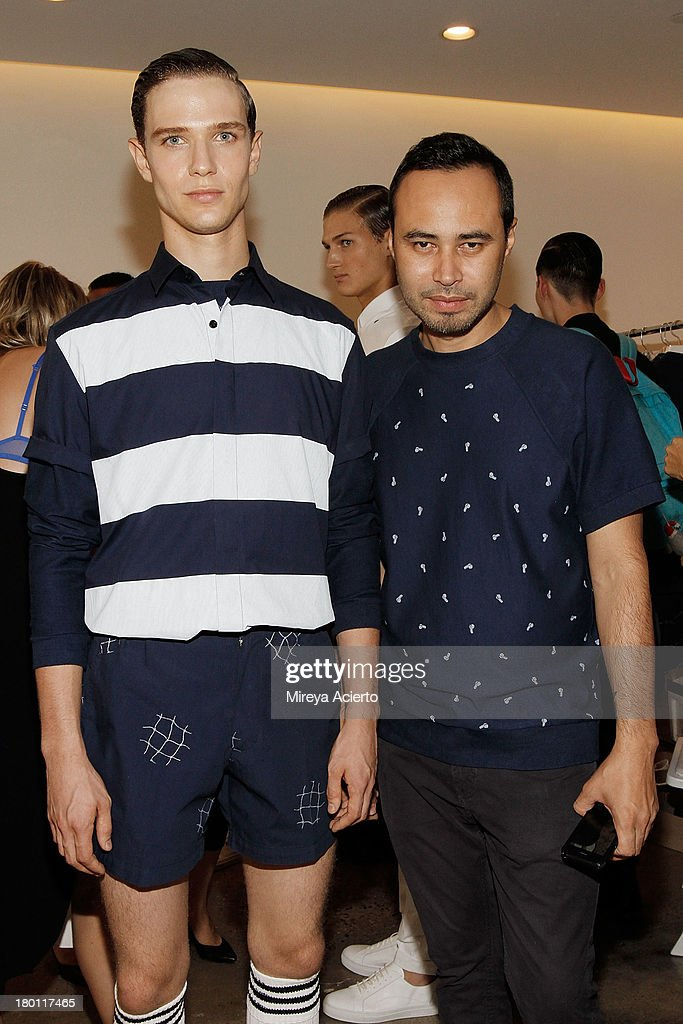 A model poses with Carlos Campos at the Carlos Campos presentation during MADE Fashion Week Spring 2014 at Milk Studios on September 8, 2013 in New York City.