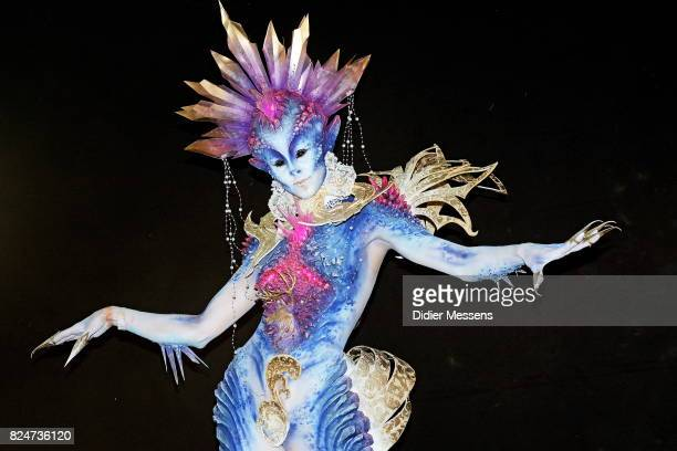 A model poses with her bodypainting designed by bodypainting artist Olga Popova from Russia during the 20th World Bodypainting Festival 2017 on July...