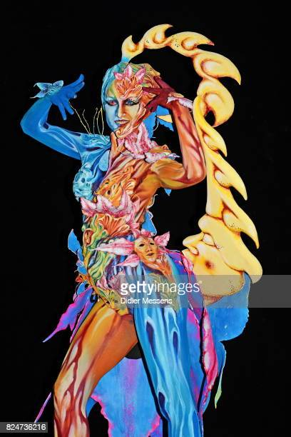 A model poses with her bodypainting designed by bodypainting artist Gloria Bordin from Italy during the 20th World Bodypainting Festival 2017 on July...