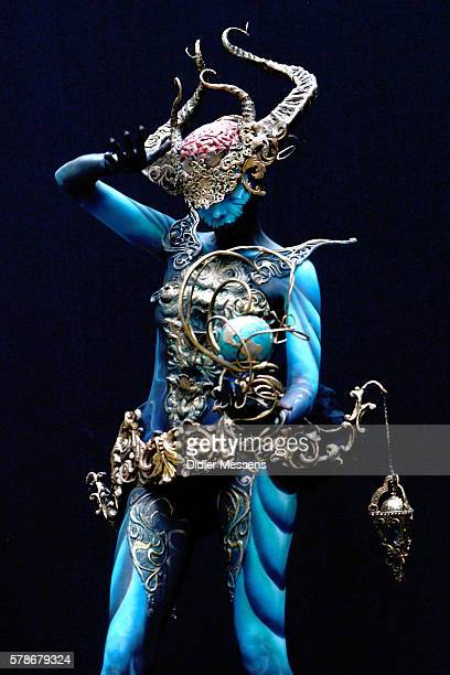 A model poses with their bodypainting during the World Bodypainting Festival in Poertschach am Woerthersee Austria