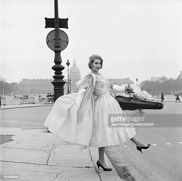 Model posing on the place de la Concorde 1960 in Paris France