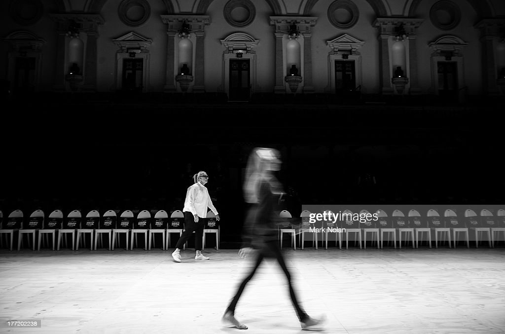 A model practices a run through, backstage ahead of the Sportscraft show during Mercedes-Benz Fashion Festival Sydney 2013 at Sydney Town Hall on August 22, 2013 in Sydney, Australia.