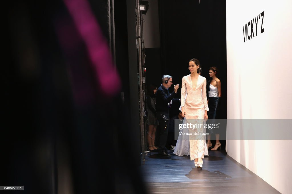 A model practices their walk before the Vicky Zhang fashion show during New York Fashion Week: The Shows at Gallery 1, Skylight Clarkson Sq on September 13, 2017 in New York City.