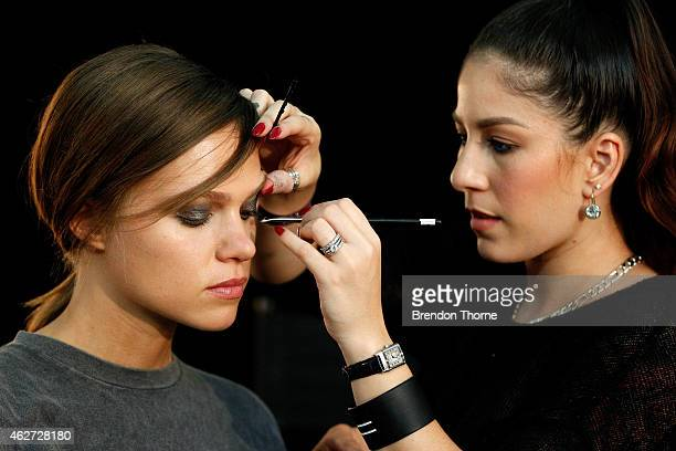 A model prepares backstage ahead of the David Jones Autumn/Winter 2015 Collection Launch at David Jones Elizabeth Street Store on February 4 2015 in...