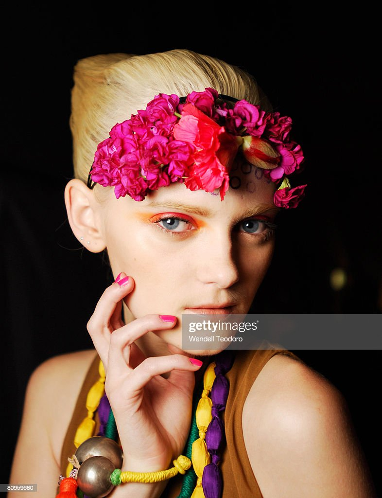 A model prepares backstage ahead of the Easton Pearson show on the third day of Rosemount Australian Fashion Week Spring/Summer 2008/09 Collections...