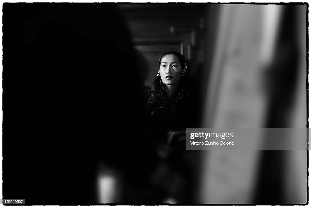 A model prepares backstage ahead of the Ermanno Scervino fashion show as part of Pitti Immagine Uomo 83 at Palazzo Vecchio on January 9, 2013 in Florence, Italy.