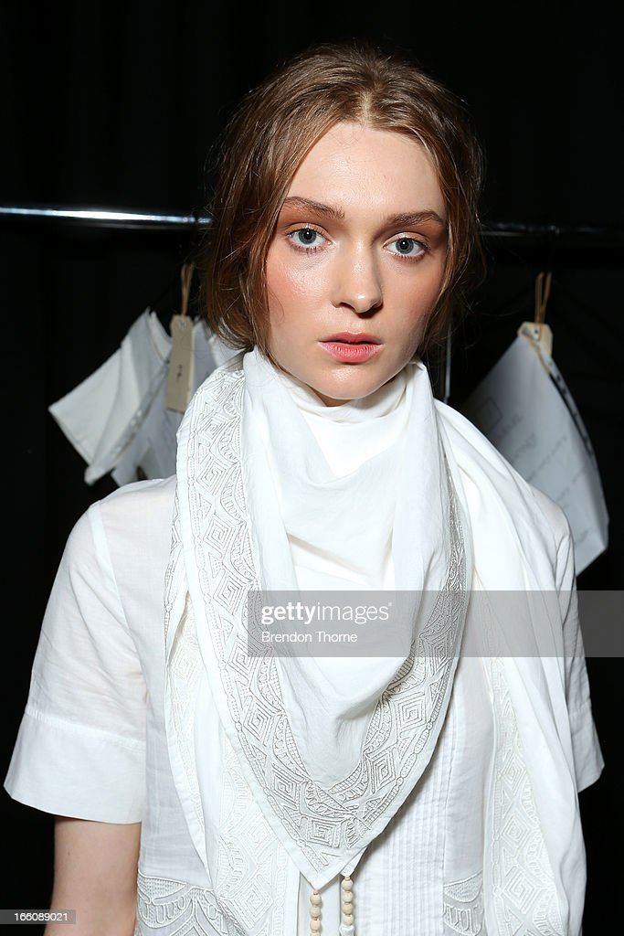 A model prepares backstage ahead of the Flannel show during Mercedes-Benz Fashion Week Australia Spring/Summer 2013/14 at Carriageworks on April 9, 2013 in Sydney, Australia.