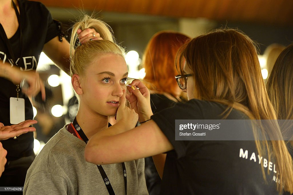 A model prepares backstage ahead of the General Pants show during Mercedes-Benz Fashion Festival Sydney 2013 at Sydney Town Hall on August 21, 2013 in Sydney, Australia.
