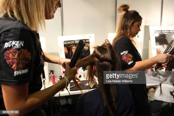 A model prepares backstage ahead of the HANSEN GRETEL show at MercedesBenz Fashion Week Resort 18 Collections at Carriageworks on May 16 2017 in...