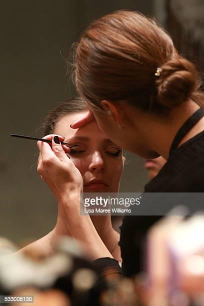 A model prepares backstage ahead of the Oscar de la Renta show presented by Etihad Airways at MercedesBenz Fashion Week Resort 17 Collections at...