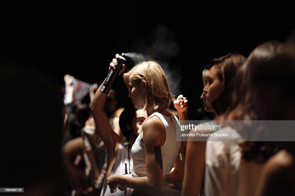 A model prepares backstage ahead of the Talulah show during Mercedes-Benz Fashion Week Australia Spring/Summer 2013/14 at Carriageworks on April 9, 2013 in Sydney, Australia.