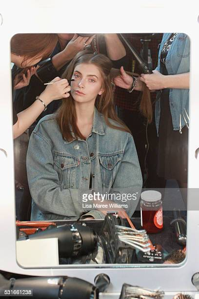 A model prepares backstage ahead of the Yeojin Bae show at MercedesBenz Fashion Week Resort 17 Collections at Carriageworks on May 16 2016 in Sydney...