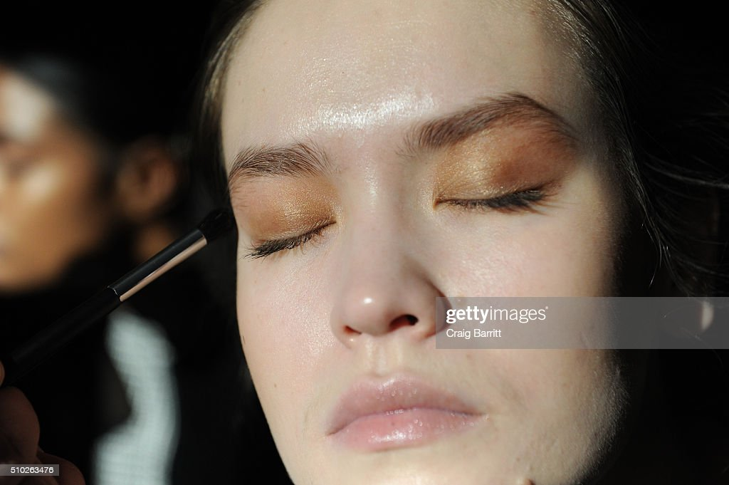 A model prepares backstage at Mary Kay at Tracy Reese F/W '16- Presentation during New York Fashion Week at Roxy Hotel on February 14, 2016 in New York City.
