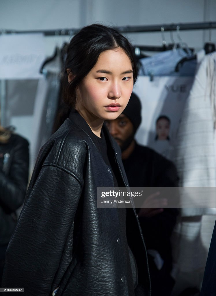 A model prepares backstage at Rebecca Minkoff during Fall 2016 New York Fashion Week: The Shows at The Gallery, Skylight at Clarkson Sq on February 13, 2016 in New York City.