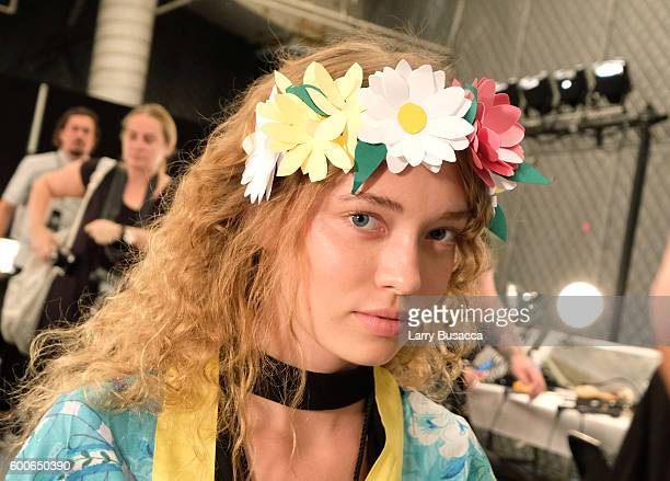 A model prepares backstage at the Desigual fashion show during New York Fashion Week The Shows September 2016 at The Arc Skylight at Moynihan Station...