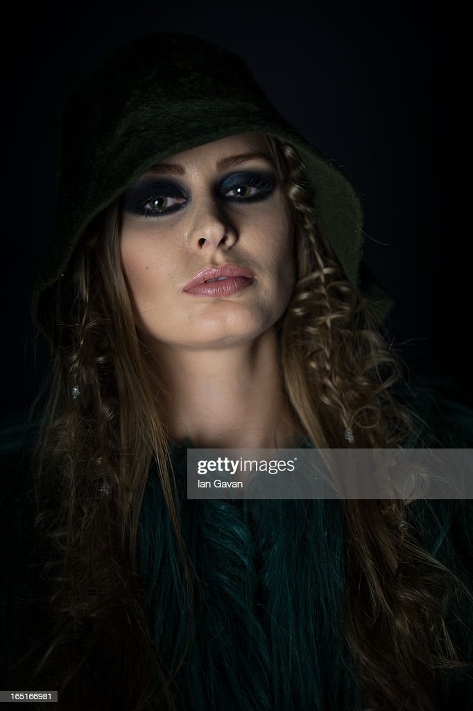 A model prepares backstage at the Domus Academy Collective Show during Mercedes-Benz Fashion Week Russia Fall/Winter 2013/2014 at Manege on April 1, 2013 in Moscow, Russia.